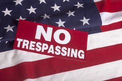US flag NO Trespassing Sign Royalty Free Stock Photo