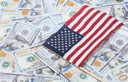 US flag on one hundred dollars banknotes Royalty Free Stock Photography
