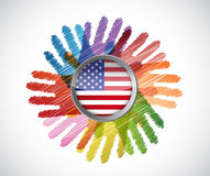 Us flag over diversity hands circle Royalty Free Stock Photography