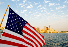 US Flag Over Seattle Stock Photos