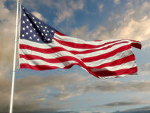 US Flag over warm sky Royalty Free Stock Images