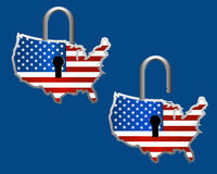 US Flag Padlock. US Flag as a padlock in both locked and unlocked variants Stock Images
