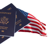 US flag and passports Royalty Free Stock Photos