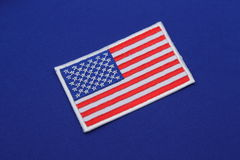 Us flag patch on fabric Stock Photo