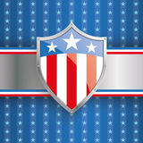 US Flag Protection Shield Banner Stripes. Independence day retro flyer with silver shield vector illustration