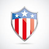 US Flag Protection Shield. On the white background stock illustration
