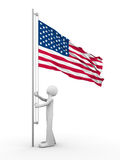 US flag-raising ceremony. On the 4th of July Royalty Free Stock Photos