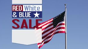 US Flag with Red, White & Blue Sale Text. American flag blowing in the wind with Red, White & Blue SALE text and blank copy space for your promotion stock video