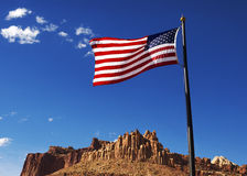 US Flag with  sandstone formation Royalty Free Stock Photography
