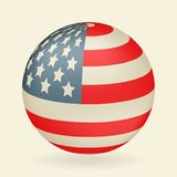 US flag in the shape of a ball. Icon isolated on beige background. Vector illustration Royalty Free Stock Photo