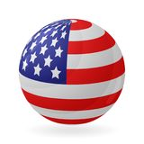 US flag in the shape of a ball. Icon isolated on white background. Vector illustration Stock Photo
