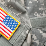 US flag shoulder patch on military uniform - studio shot Stock Photo