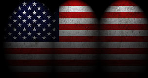 US Flag with spot light. Stock Photo