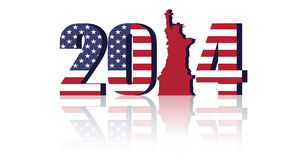 US flag with 2014 stock illustration