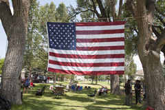 US Flag stretched between trees royalty free stock photos