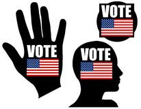 US Flag Symbolic Vote Icons or Logos. A clip art illustration featuring your choice of 3 US election related designs including hand, head and a simple square/ Royalty Free Stock Photo