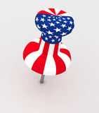 US flag thumb tack Stock Photo