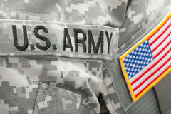 US flag and U.S. ARMY patch on military uniform - close up shot Stock Photos