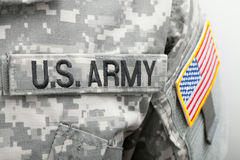 US flag and U.S. ARMY patch on military uniform - close up studio shot Royalty Free Stock Photography
