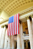 US Flag in Union station interior, Chicago. Union station interior, Chicago city, Illinois Royalty Free Stock Image