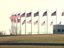 US Flag waving. United States Flag waving on a wind during the winter sunset stock footage