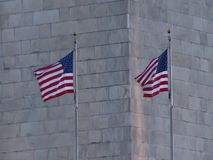 US Flag waving. United States Flag waving on a wind during the winter sunset stock video footage