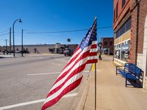 US Flag waving in the wind at Route 66 - STROUD - OKLAHOMA - OCTOBER 16, 2017 Stock Images