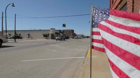 US Flag waving in the wind at Route 66. USA 2017 stock footage
