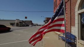 US Flag waving in the wind at Route 66. USA 2017 stock video footage