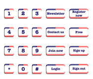 US Flag web buttons. Web buttons with US flag; numbers and other useful buttons Royalty Free Stock Photo