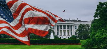 The White House - Washington DC United States. US flag White House - Washington DC United States stock photo