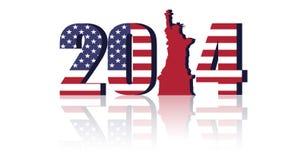 US-Flagge mit 2014 Stockfotografie