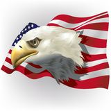 US-Flagge mit kahlem Eagle Head Stockfoto