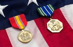 US-Flaggen-Militär-Medaillen Stockbild