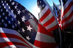 US Flags. Inside a group of US flags during a celebration royalty free stock image