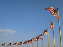US flags. In blue sky Stock Photography