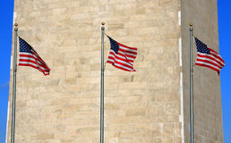 US flags. In front of Washington Monument Royalty Free Stock Photography
