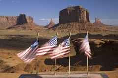 US Flags blowing in wind Stock Photo