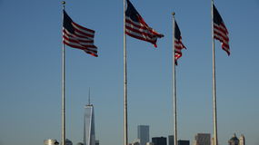 US Flags And Cityscape Royalty Free Stock Photos