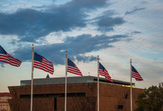 US Flags in Front of the National Museum of African American History royalty free stock photo