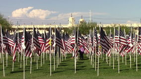 US flags in honor of 911. Tempe, Arizona, USA - September 11, 2015:  2977 American flags, one for each victim of the 911 tragedy, fly's on the anniversary day stock video footage