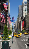 US flags at Manhattan 5th Avenue. US flags at New York City 5th Avenue royalty free stock photography