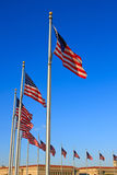 US flags near Washington Monument Royalty Free Stock Photo