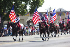 US Flags in Patriotic Parade stock image