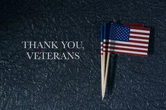 US flags and text thank you veterans
