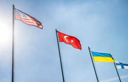 US Flags, Turkey and Ukraine Stock Image