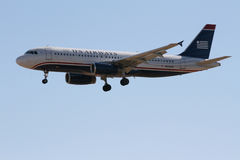 Us-flygbolagflygbuss A320 Fotografering för Bildbyråer