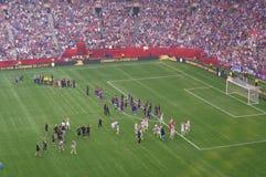 US-Frauenfußballteam feiern das Gewinnen der Fußball-Weltmeisterschaft 2015 Stockfotografie