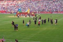 US-Frauenfußballteam feiern das Gewinnen der Fußball-Weltmeisterschaft 2015 Lizenzfreie Stockbilder