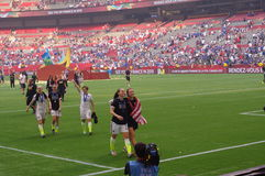 US-Frauenfußballteam feiern das Gewinnen der Fußball-Weltmeisterschaft 2015 Stockbilder